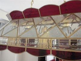 Custom Tiffany light (5 bulbs) 80 glass panes with brass frame (light over the pool table)