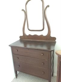 Small dresser with mirror.   Make it farm or shabby style with paint.