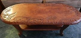 FABULOUS VINTAGE PRESSED WOOD ASIAN COFFEE TABLE.