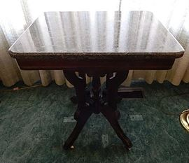 ANTIQUE MARBLE TOP OCCASSIONAL TABLE