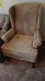 SOFT TAUPE FABRIC WING BACK CHAIR. COLOR MATCHES SOFA CHAIR AND LOVE SEAT PIECE