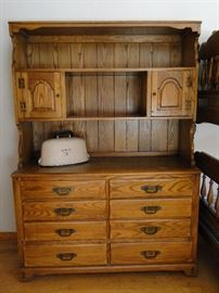 This bedroom suite includes this chest of drawers, 2 book cases, bedframe, headboard, nightstand