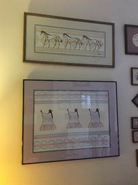 "Two original Jean Bales pieces of art. Top is titled ""Plains Horses"" and is signed on front and back. Bottom is titled ""Plains Women"" and received honorable mention in the Swaia 68th Annual Indian Market. We have the ribbon to accompany the painting."