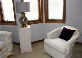 Pedestal and pewter & brass lamp, swivel chair