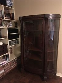 EMPIRE STYLE ANTIQUE OAK CHINA CABINET