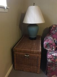 TRUNK SIDE TABLES GREAT FOR STORAGE - TURQUOISE COLORED LAMP