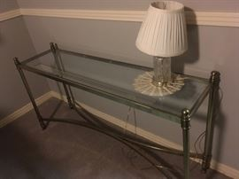 BRASS AND GLASS SOFA TABLE GREAT LOOKING!!