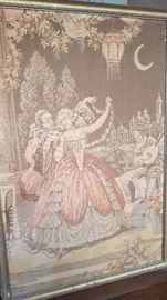 Tapestry with an couple dressed in 18th century dress