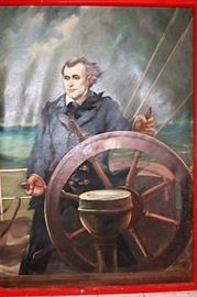 "This is a huge original painting with a nautical theme, showing what looks like a ship's captain at the helm of a ship or boat.  Oil on canvas.  The size is about 51""wide (left to right) x 71""tall (top to bottom), this is the size of the painting only, not counting the frame. It is signed, but I can't make out the signature.  Age is unknown, but it looks quite old.  Will need cleaning.  I am not an expert in this field so I will leave cleaning up to the buyer.  The painting was purchased in the 1950's from the MGM studios."