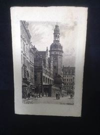 German etching, postcard
