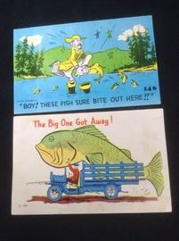 Vintage fishing postcards