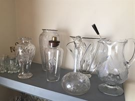 Beautiful OLD glass vases, decanters, pitchers, shaker - all in wonderful condition