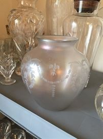 Hawkes Glass iridescent vase