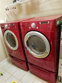 LG Ruby Red He Washer and Dryer Set