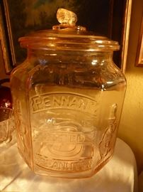 Pink  Glass Mr Peanuts container