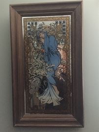 Winter Mucha Framed Mirror print Art Nouveau
