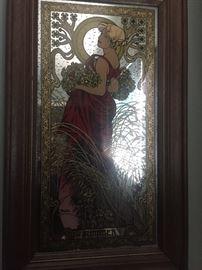Summer Mucha Framed Mirror print Art Nouveau