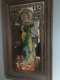 Spring Mucha Framed Mirror print Art Nouveau