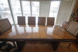 Hibriten Tribute Wormed  Walnut and Ebony Dining Table with 3 leaves, table pad and 6 Chairs