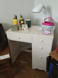 small desk and lamp