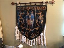 Gold Handpainted Faux Leather Tapestry