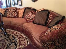 Elegant Statement 3 Piece Couch with Fringe and Pillow Assortment