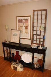 Long Console table, European Window Panel, Vintage Radio Bar Set