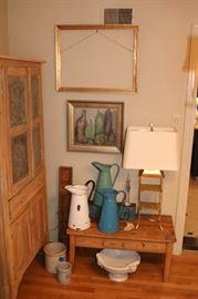 Antique Pine Table, Vintage European Enamelware Pitchers, Vintage Wood Tray Feeder, 3Tier Lamp, Original Art