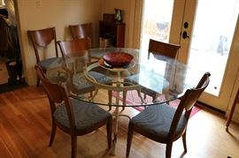 Glass Top/Metal Base Dining Table, Set of 6 Great 1965 Dining Chairs