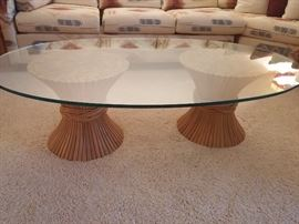 Oval Glass Top Coffee Table  Double Ratan Woven Base