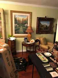 Lamps, end tables, paintings
