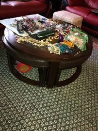 Small coffee table with pull out chairs