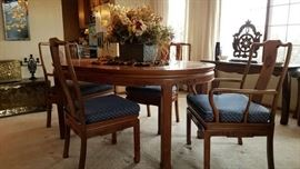 Teak table with 6 chairs and 2 leaves