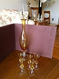Vintage Amber Decanter with 5 glasses