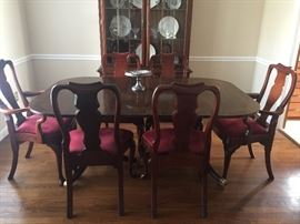 Solid banded two pedestal dining table.  8 colonial t-back chairs by Hickory Chair