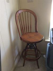 Solid wood vintage swivel bar stool