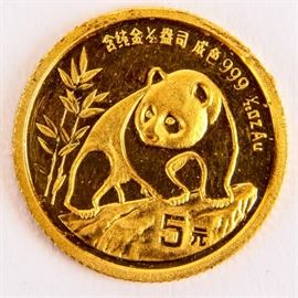 Lot 63 - Coin 1990 Gold Panda 1/20th Ounce .999 Gold