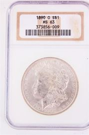 Lot 226 - Coin 1890-O Morgan Silver Dollar NGC MS63