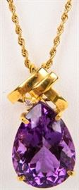 Lot 5 - Jewelry 18k & 14k Yellow Gold Amethyst Necklace