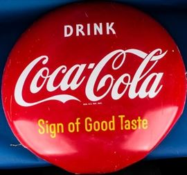 Lot 326 - 1950's Coke Coca Cola Button Metal Porcelain Sign