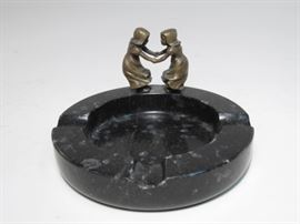 Early 20th century Art Deco bronze and marble figural ashtray.