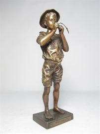 19th century bronze sculpture fisherman