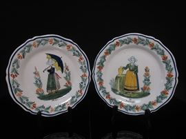 Pair 19th century French Henriot Quimper service plates - faience