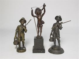 19th century bronze and marble miniature statues or desk ornaments.  fisherman figures