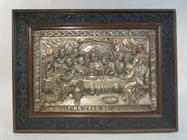Vintage embossed silver plate scene of the last supper