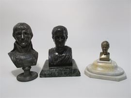 Three antique/vintage bronze busts