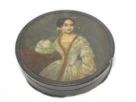 antique hand painted lacquer box