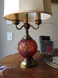 Antique cranberry glass lamps