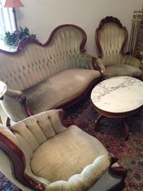 Victorian sofa and two matching chairs