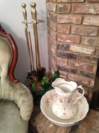 Vintage bowl & pitcher; brass fireplace tools